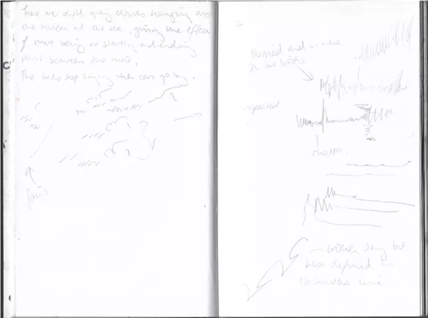 photograph of artist sketch book with drawings, marks, annotations